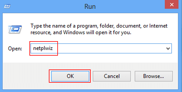 команда netplwiz в Windows 8