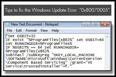 Исправить ошибку 0x80070005 при обновлении Windows 7 и 10