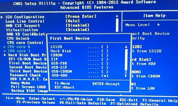 Меняем в БИОС First BOOT на значение USB-HDD