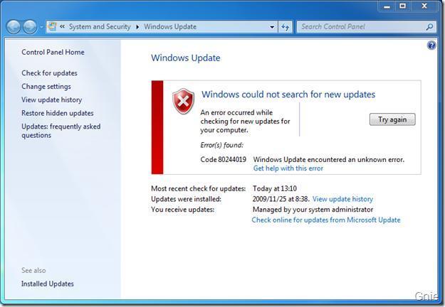 Исправить ошибку 80244019 центра обновления Windows 7