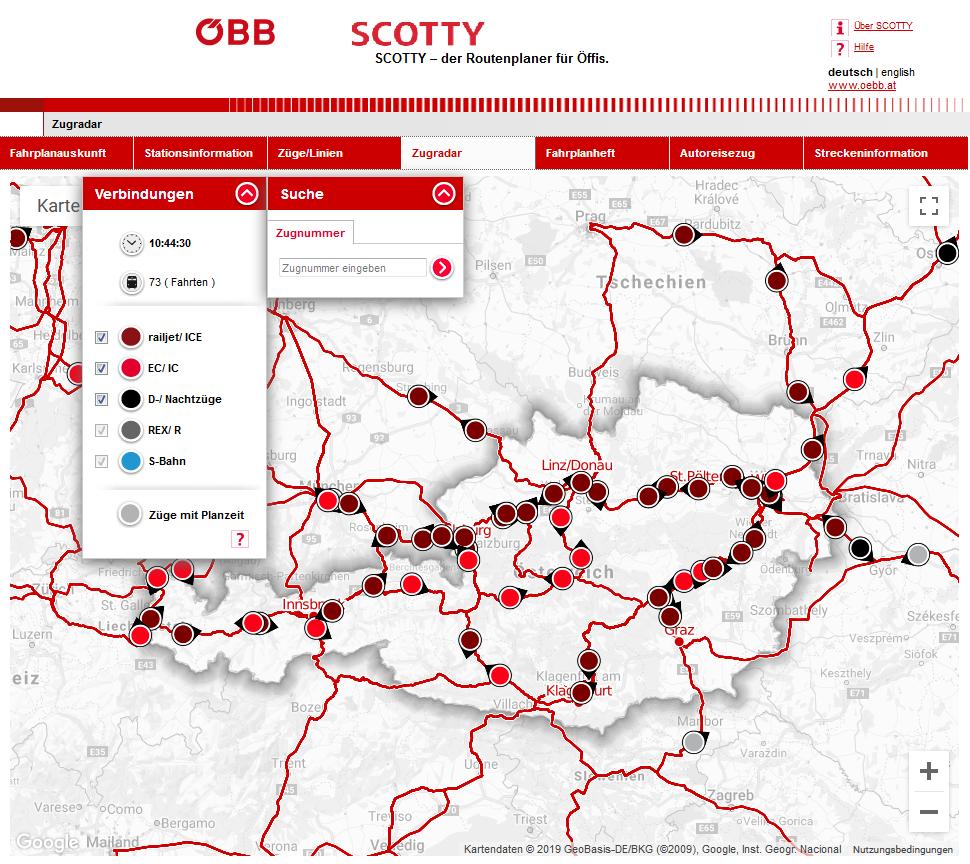 Карта движения поездов онлайн в реальном времени
