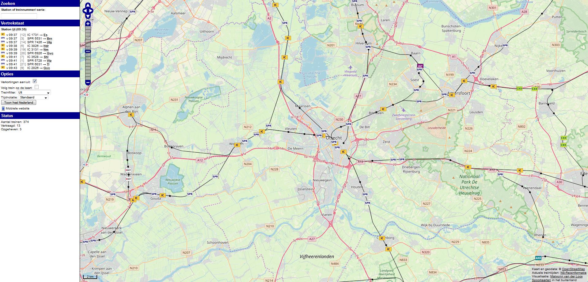 Сервис отслеживания голландских поездов